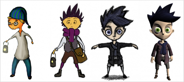 The different designs of the Boy in Shadow Puppeteer