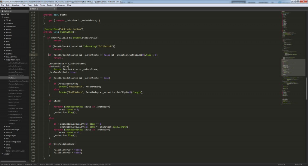 A small sample of the code we're using for the levers in the game, and  illustrate how the coding environment looks like.