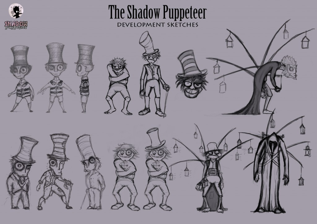 Collection of character sketches through the development process for the Shadow Puppeteer