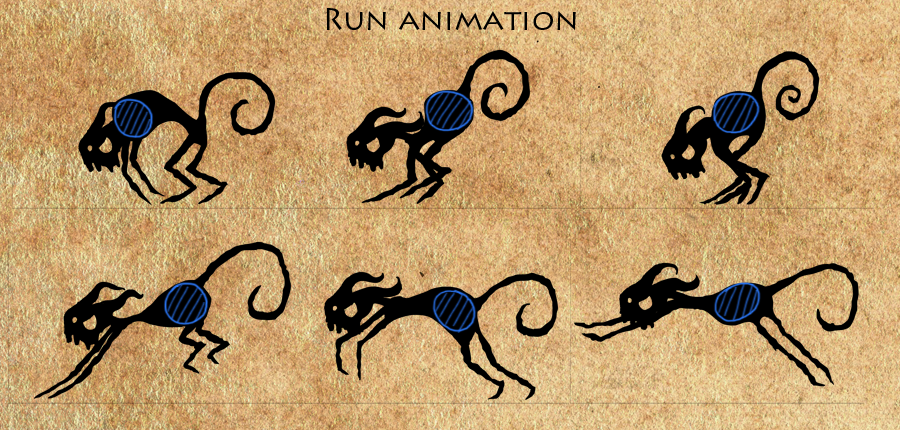 """Frames from the """"run"""" animation. The ball shape is highlighted in blue."""