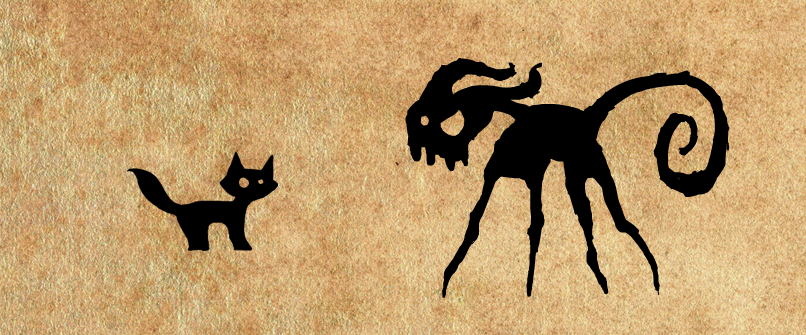 The shadow cat in normal form and in monster form
