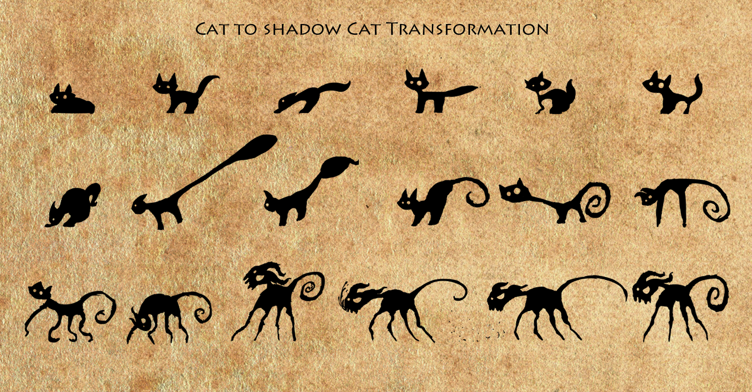 Frames from the Shadow Cat's transformation.