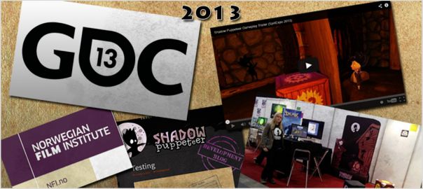 2013 collage: GDC, NFI, Shadow Puppeteer blog, spillexpo stand, game trailer