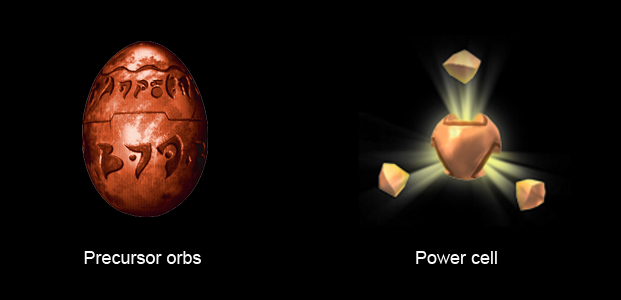 The two main collectibles: Precursor orbs and Power cells