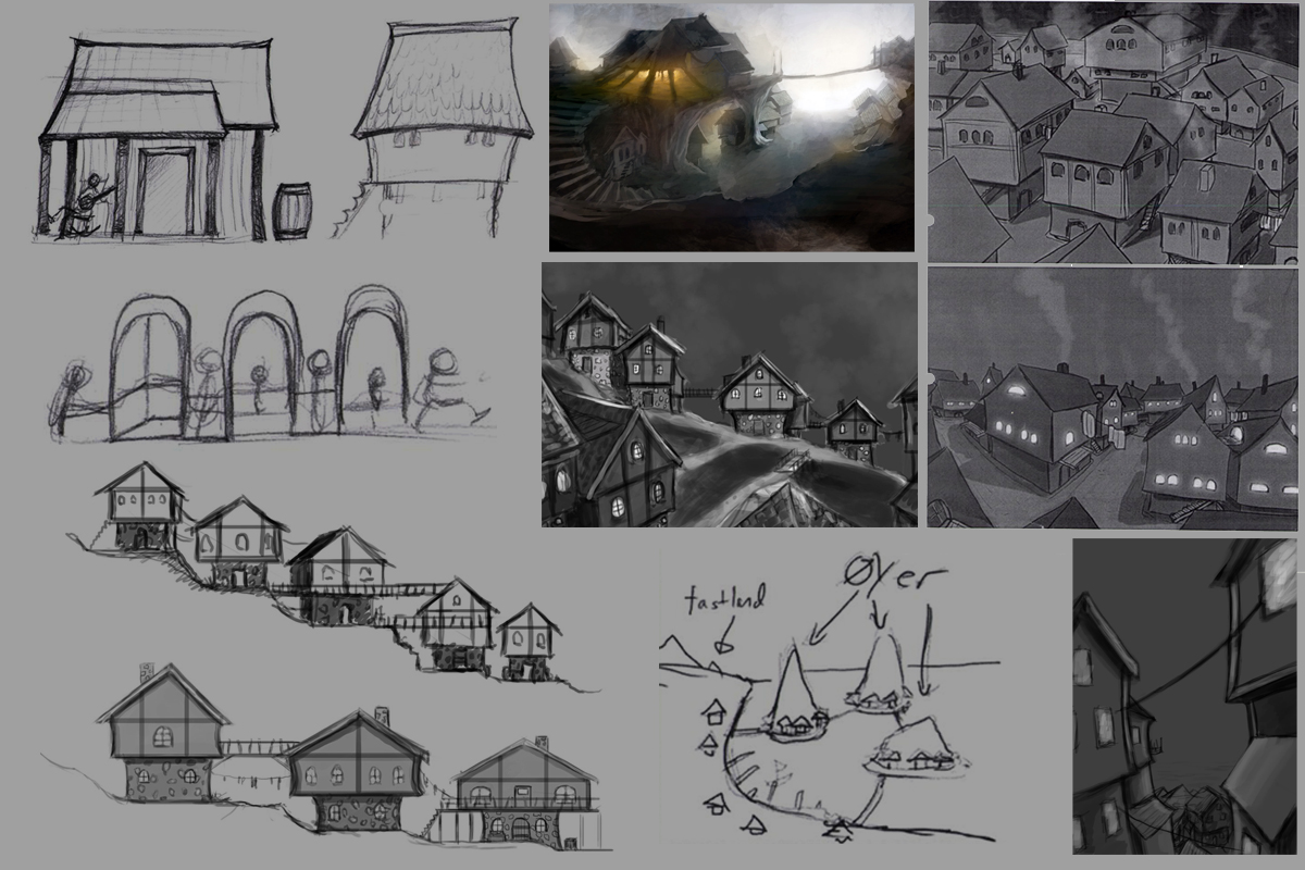(Early sketches of the Island Village)
