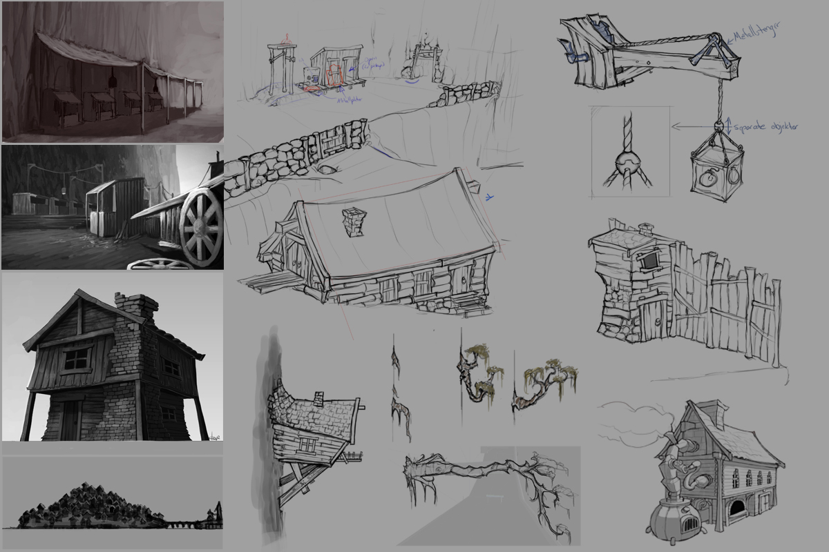 Sketches of the final design for the Island Village