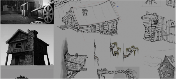Shadow Puppeteer Sketches of the final design for the Island Village