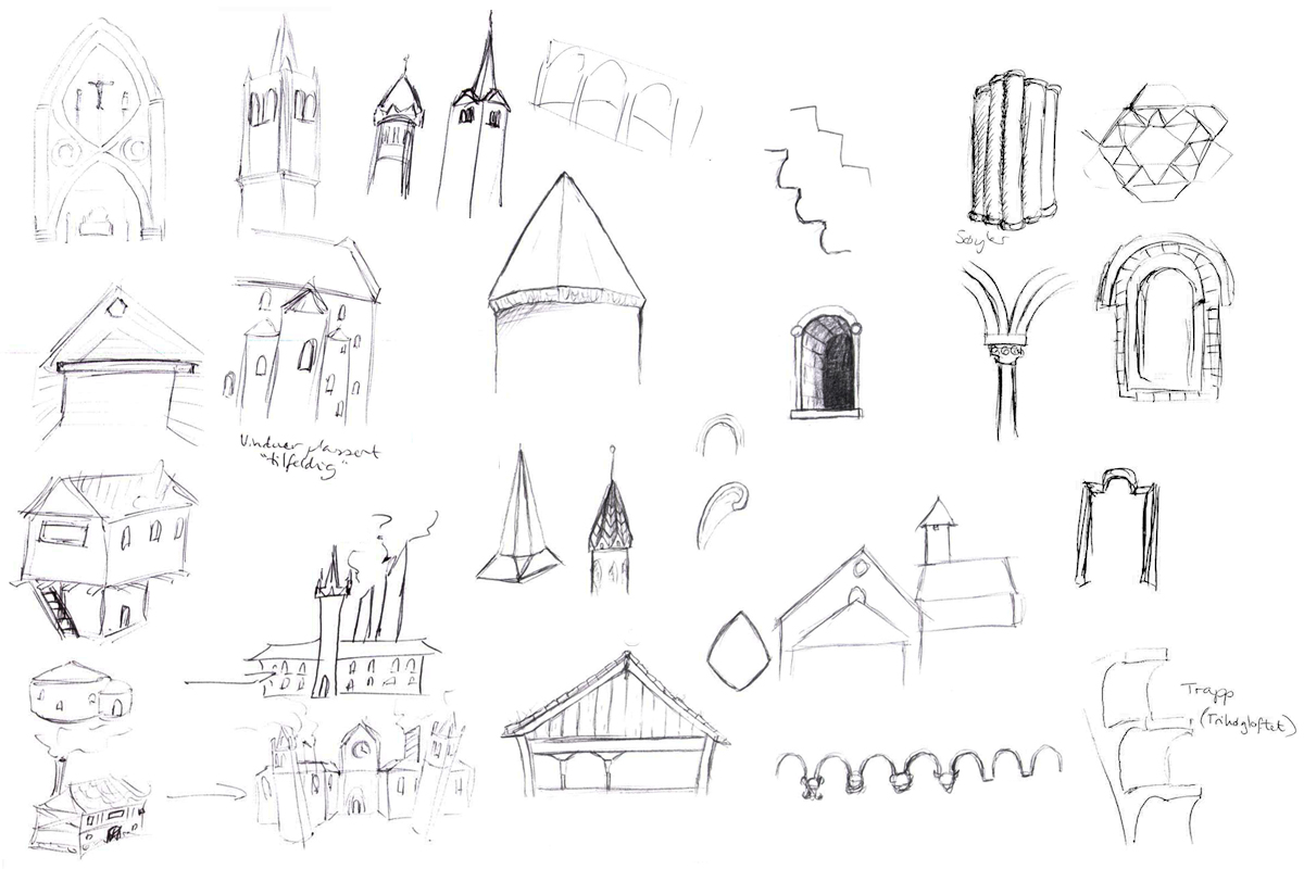 (Early sketches of shapes and elements)