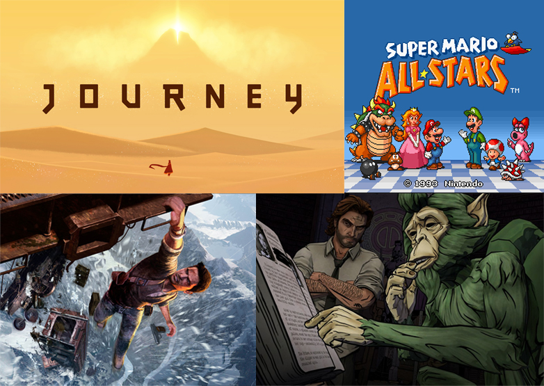 "Some of the games we've played during Friday Fun: ""Journey"", ""Super Mario All Stars"", ""Uncharted 2"" and ""The Wolf Among Us"""