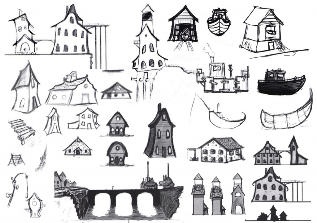 (Early sketches for the Fishing Town)