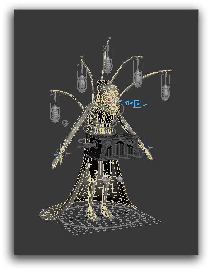 (Character in wireframe mode inside the 3D software)