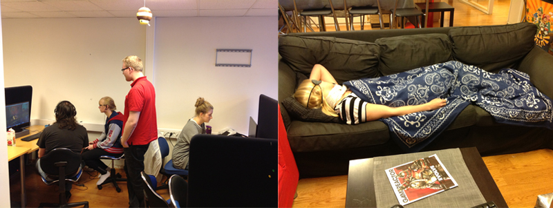 (The two states of crunch existense: Working or sleeping)