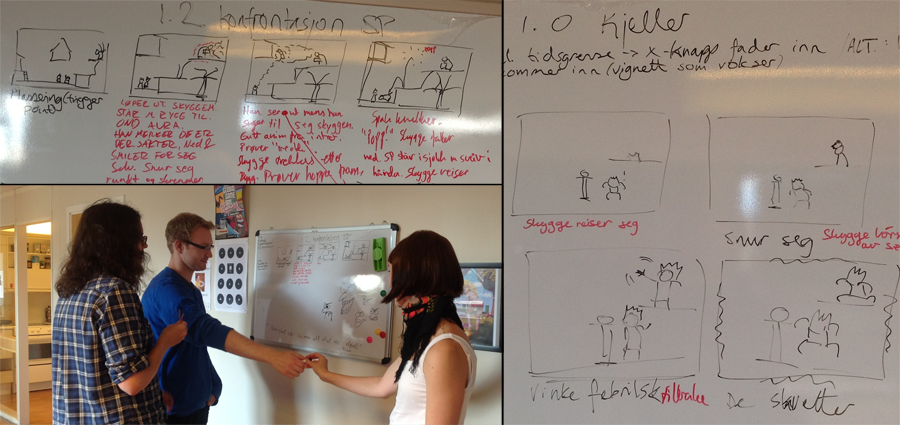 (When we're not sketching on paper og acting out scenes, we active use our whiteboard)