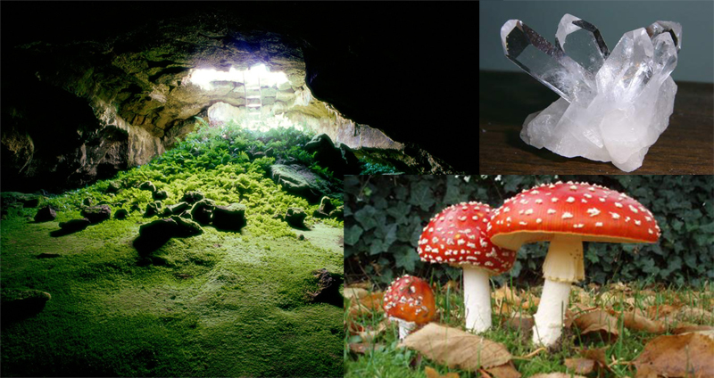 (Main elements for the caves: Mammoth Cave, Kentucky, quartz crystal clusters and mushrooms)