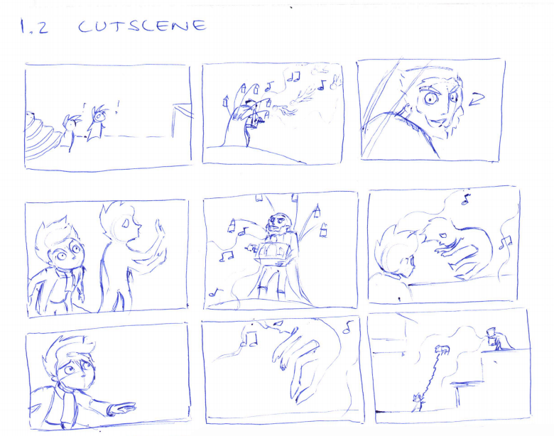 (Hand drawn storyboards)