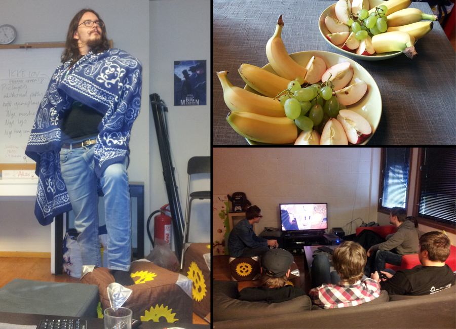 (Silliness, fruit and local students as game testers. All normal things in the time before release)