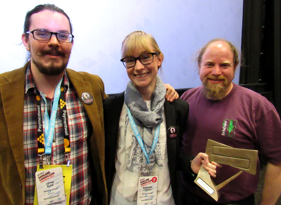 """Klas, Marianne and sound guy Jory Prum posing with the award for """"Most promising IP"""" right after the ceremony."""