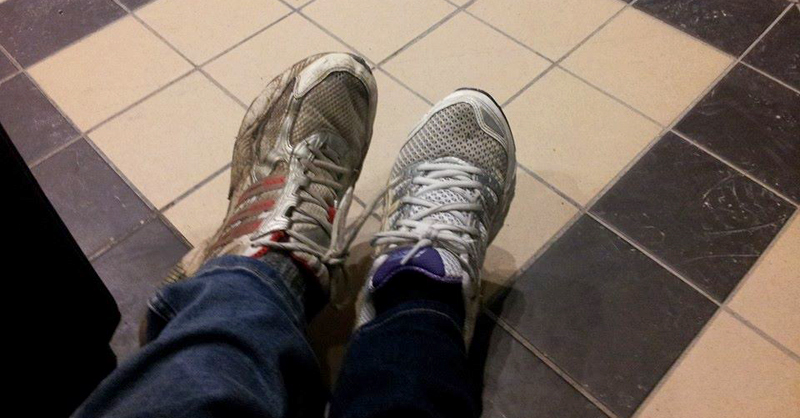Marianne and Klas' Pro tip: Always wear comfortable shoes to GDC. Picture taken at the train station before departure to SF.