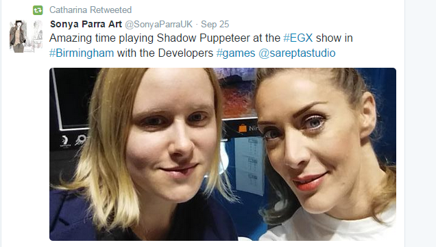 Developer Catharina Bøhler and @SonyaParraUK  in front of Shadow Puppeteer stand during EGX