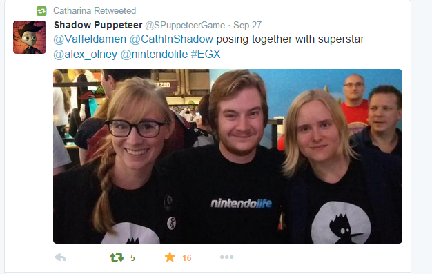 Developer Catharina Bøhler and Marianne Lerdahl at EGX posing with NintendoLife @alex_olney