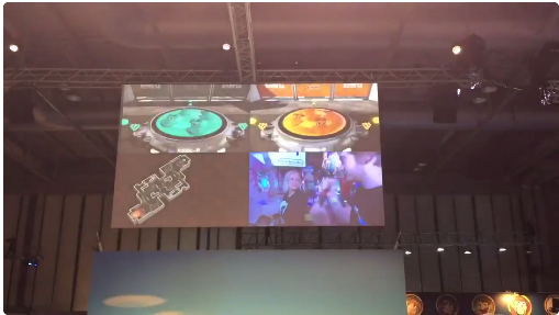 Developer Catharina Bøhler in a Splatoon tournament during EGX