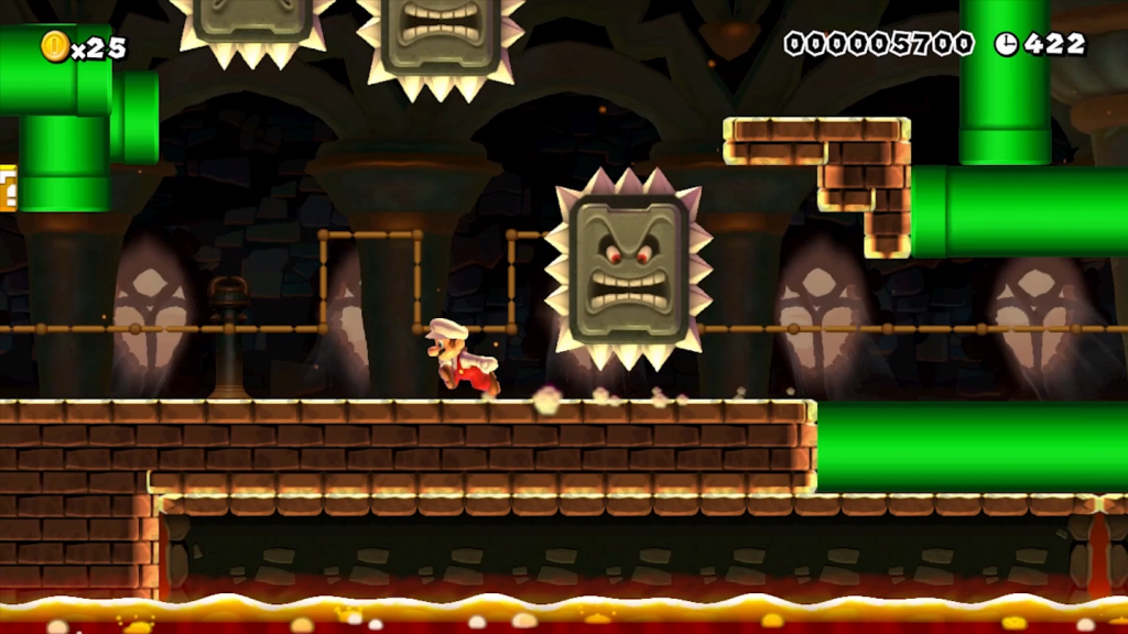 Shpuer Mario Maker Shadow Puppeteer level Thwompers