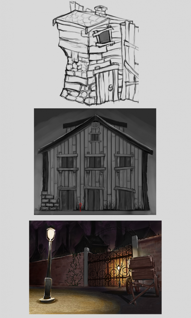 Shadow puppeteer concept art, island village, finshing town, industrial area
