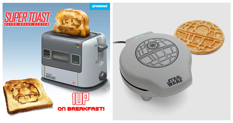 geeky, valentine, breakfast, super mario, star wars, toast, waffles