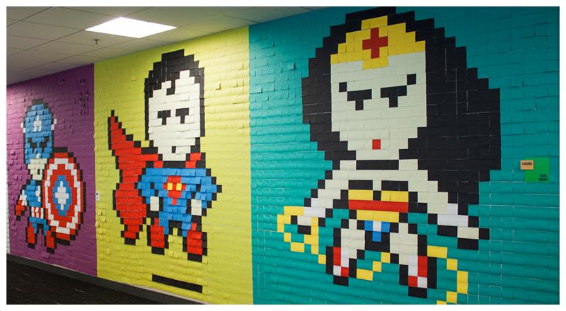 geeky, valentine, post-it, pixel art