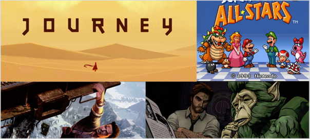 Friday fun games, Journey, Super Mario Allstars, Uncharted, Wolf Among Us